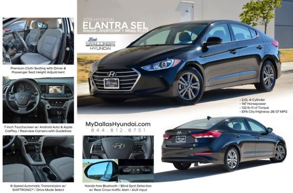 Driver Select Dallas >> 2018 Hyundai Elantra Sel 2 0l Sedan Automatic For Sale In